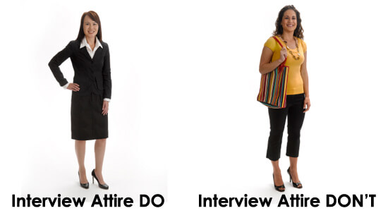 Female felon dress attire for a job interview